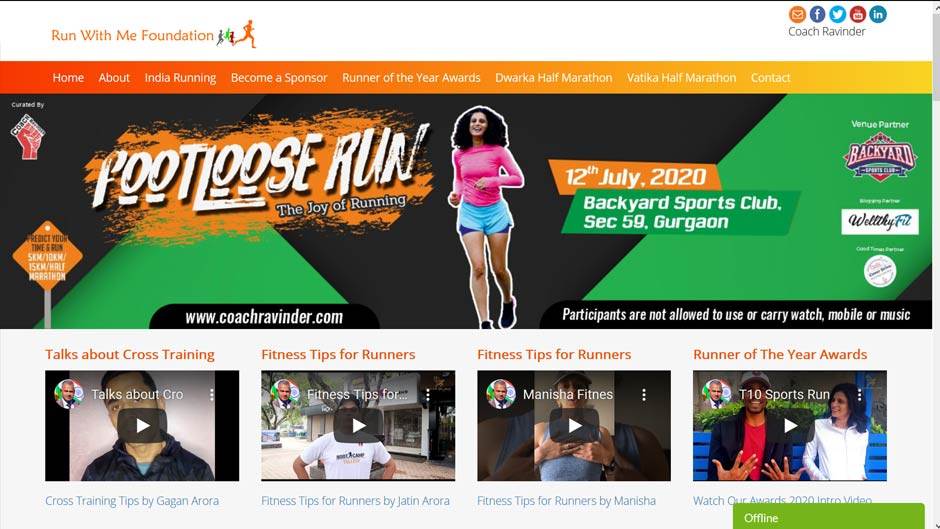 Running Event Website Design